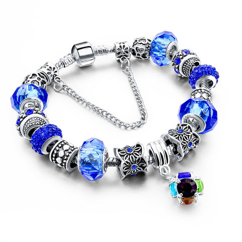Silver Plated Crystal Bangles Charm Beads Bracelets