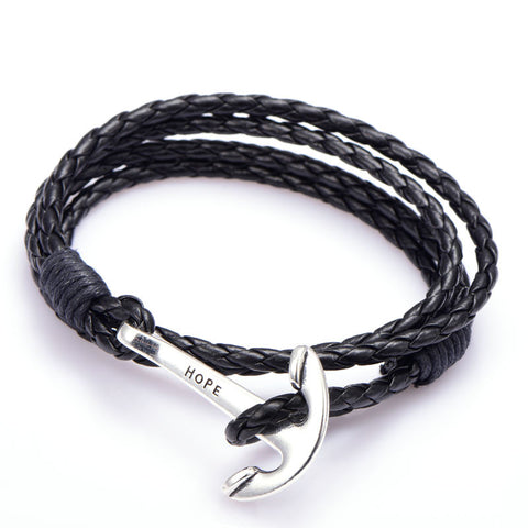 Leather Anchor Charm Bracelet Unisex