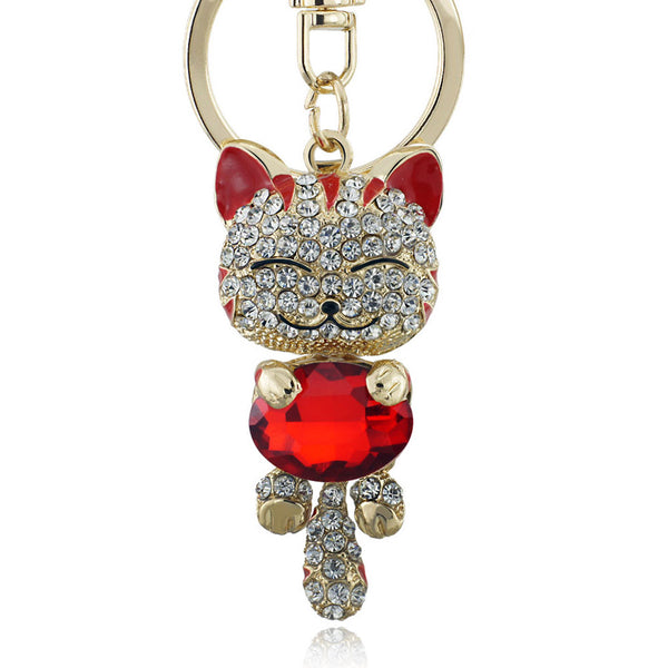 Lucky Crystal Cat Keychain with Rhinestones