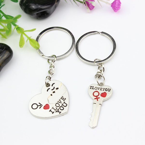 I Love You Couple Key and Heart Key Chain