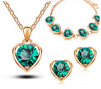 Delicate Heart Crystal Jewelry Set
