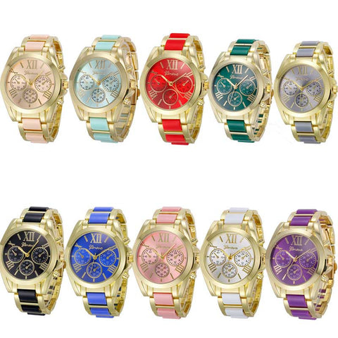 Geneva Golden Band Quartz Analog Wristwatch