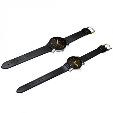 PU Leather Round Dial Sports Couple Wristwatch