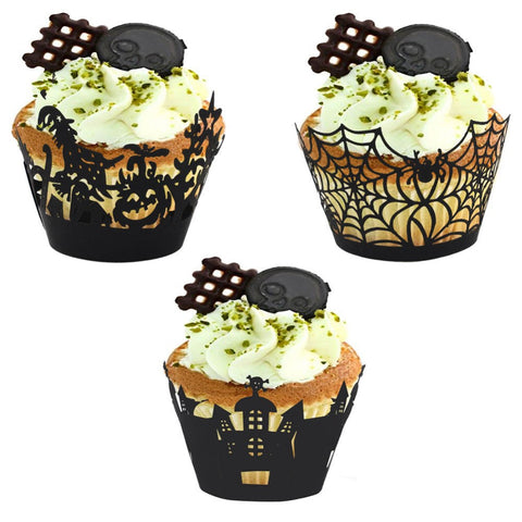 12pcs Halloween Laser Cut Cupcake Liner Party Decorations