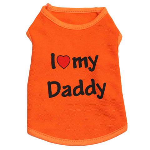 Pet I Love Mommy / Daddy Print Clothes