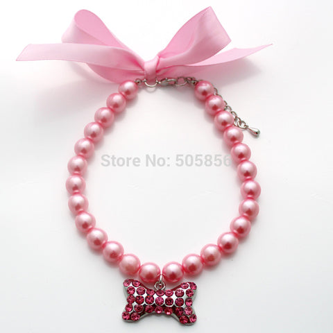 Pet Dog Pearl Rhinestones Collar Necklace