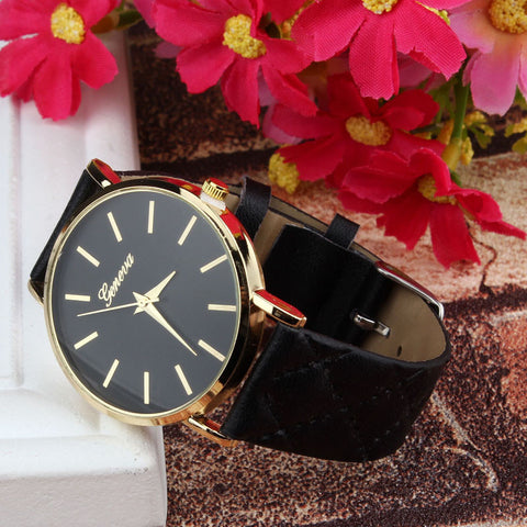 Geneva Faux Leather Quartz Wristwatch