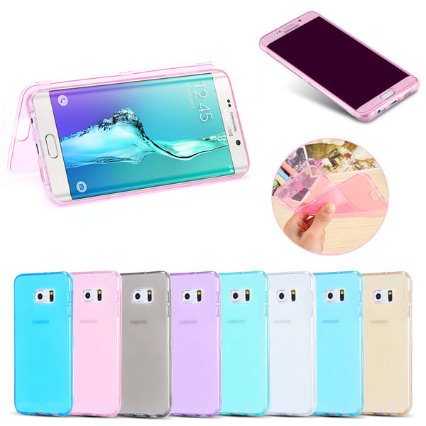 Candy Color Crystal Clear Flip Case For Samsung