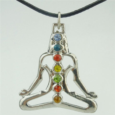 Silver Rhinestone Buddha Chakra Yoga Meditation Crystal Necklace
