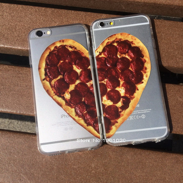 Love Heart Pizza Plastic Case for iPhone 5/6/6plus