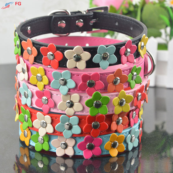 Leather Pet Collar Necklace with Studded Flower