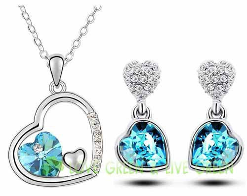 18K White Gold Plated Crystal Double Heart Necklace Jewelry Set