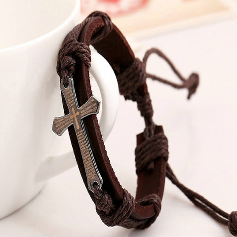 Genuine Leather Cross Bracelet - Passion Promos