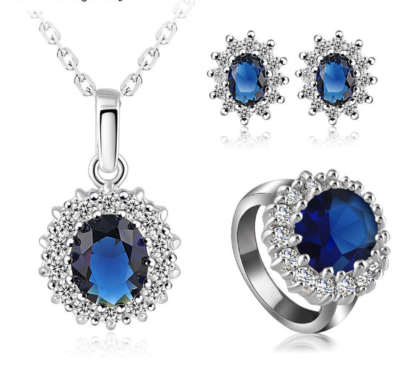 Luxury Platinum Plate Jewelry Set