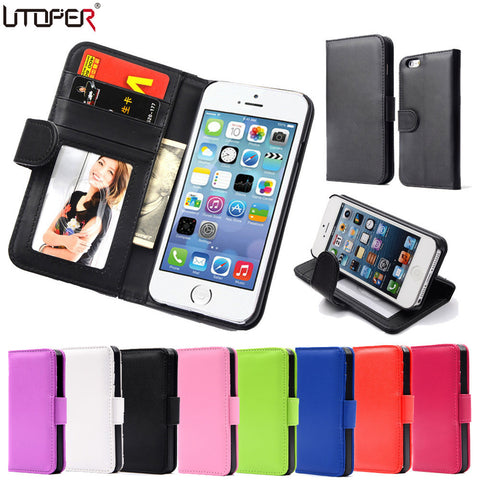 Magnetic Flip PU Leather Wallet Case For Apple iPhones
