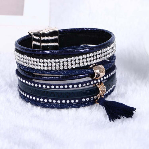 Multi Layer Magnetic Rhinestone Tassel Leather Bracelet