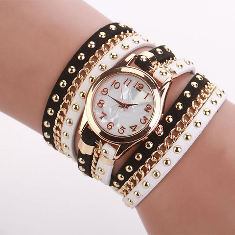 Korean Crystal Rivet Bracelet Watch