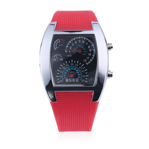 Turbo Dial LED Flash Sports Car Meter Watch