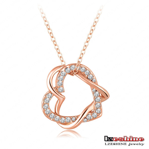 Alloy Heart Austrian Crystals Pendant Necklace