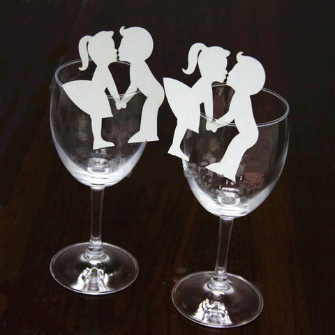50 Pcs Creative Lovers Wine Glass Paper Cards Decoration