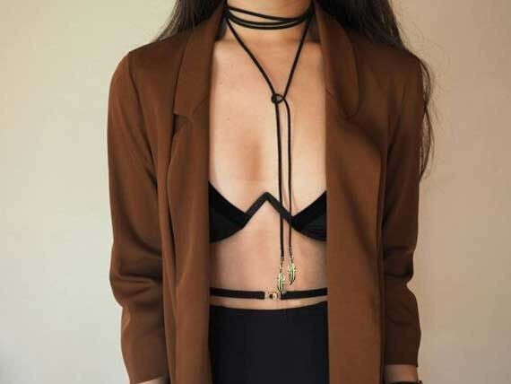 Black Velvet Leather Suede Choker Necklace
