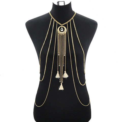 Gold Water Drop Crystal Tassel Body Chain