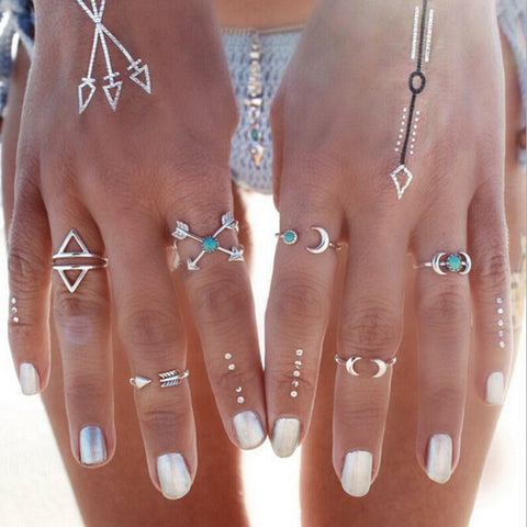 6pcs Vintage Turkish Beach Boho Punk Moon Arrow Ring Set