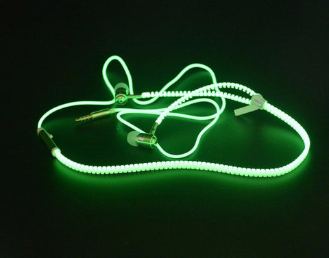 Glow In The Dark Metal Zipper Earphones with Microphone