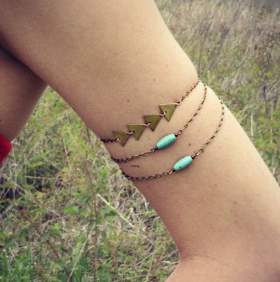 Sexy Retro Turquoise Triangle Arm Chain