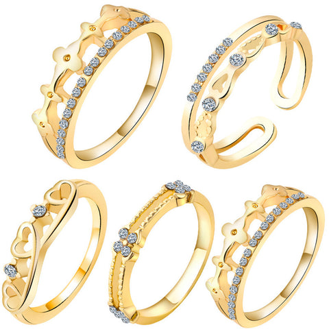 5pcs Luxury Zircon Crown Ring Set