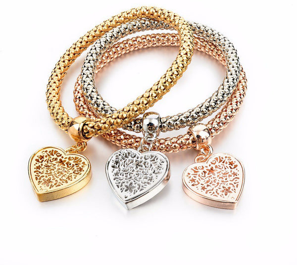 Three Tone Fashion Bangle Bracelets with Charms