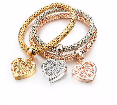 Three Tone Fashion Bangle Bracelets with Charms- FREE Shipping with 3 or More! - Passion Promos