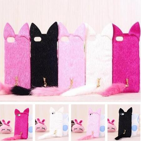 3D Cat Plush Furry Tail Silicone Case for all iPhones