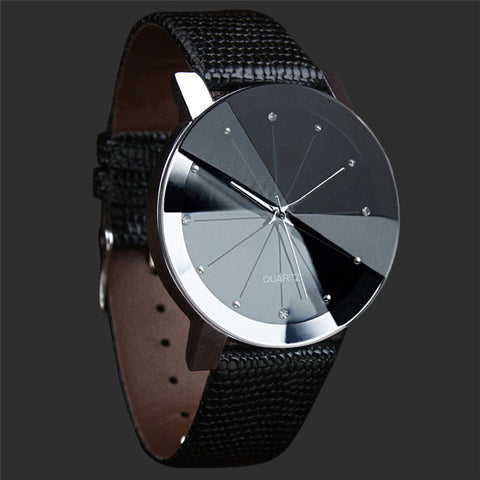 Quartz Dial Stainless Steel Leather Band Wrist Watch