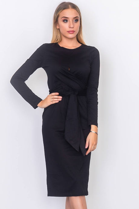 Front knot jersey midi dress - IRIDESCENCE