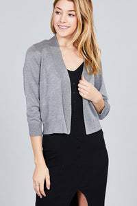 3/4 Sleeve Open Front Crop Cardigan - IRIDESCENCE