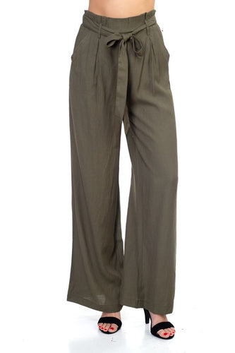 Belted Wide Leg Pants - IRIDESCENCE