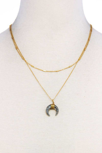 Chic Double Layer And Crescent Moon Necklace - IRIDESCENCE