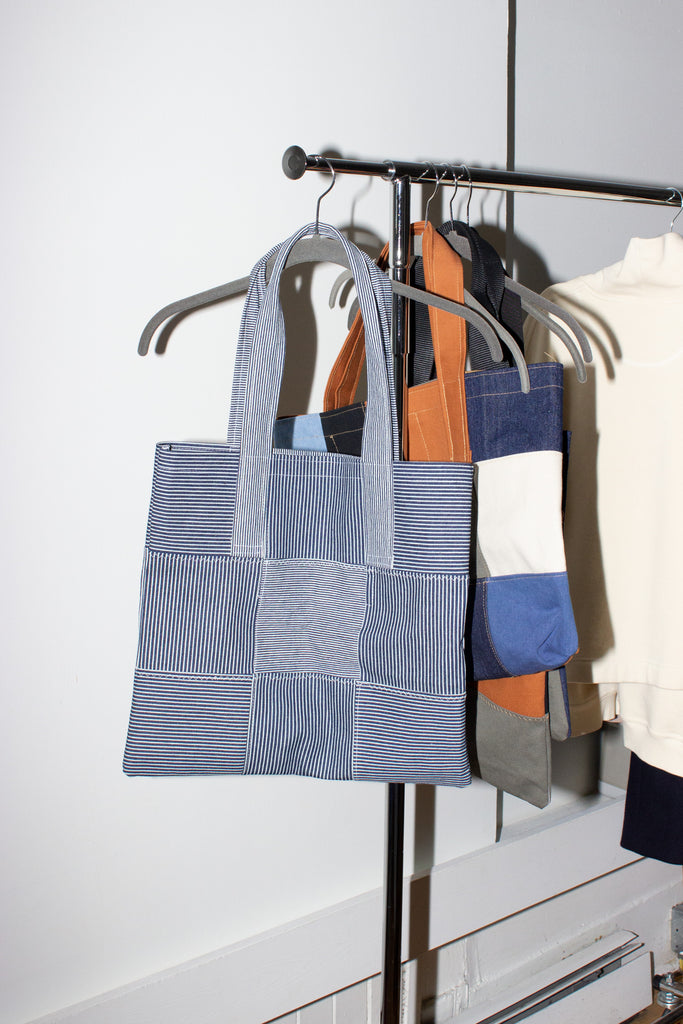 MIXED FABRIC TOTE /MEDIUM