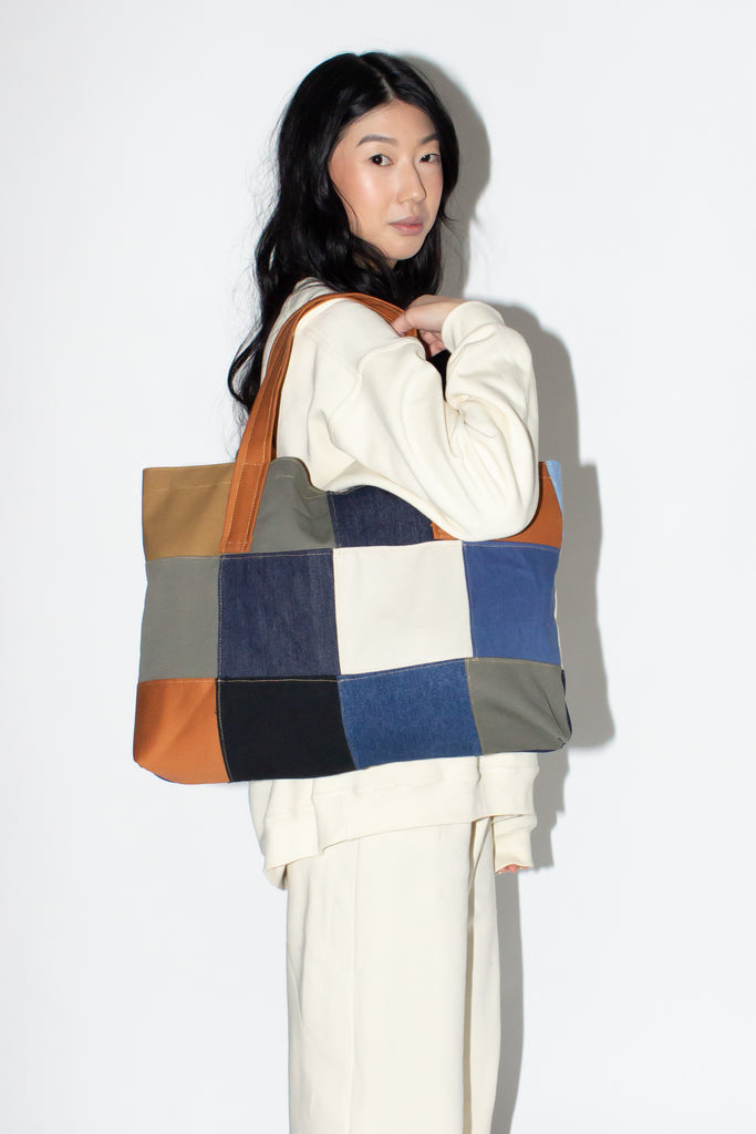 MIXED FABRIC TOTE /LARGE