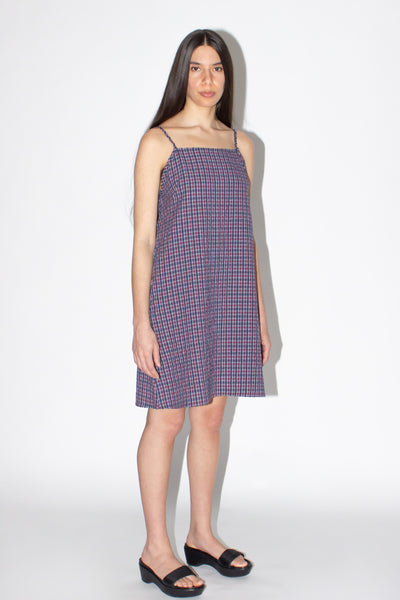 PLAID SEERSUCKER SUNDRESS /RED
