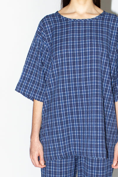 PLAID SEERSUCKER T-SHIRT /BLUE