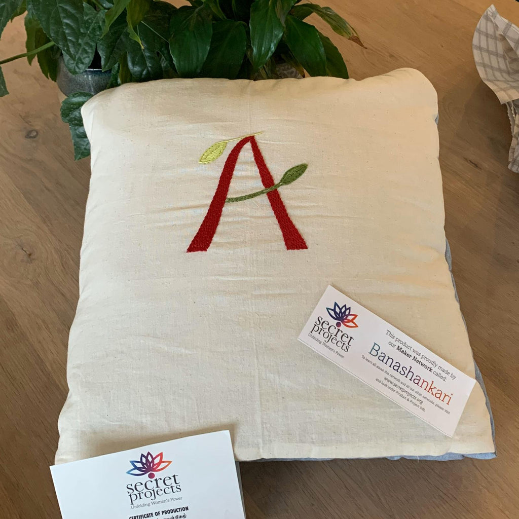 Embroidered Letter Secret Pillow