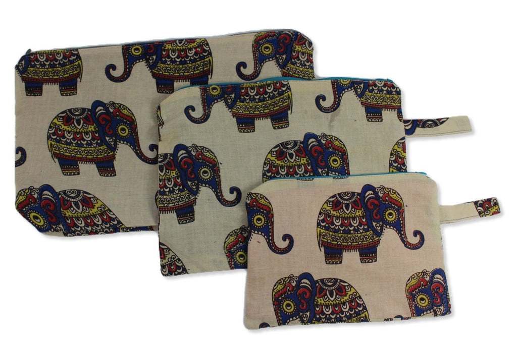 Cream Baby Elephant Set of Three Secret Cosmetic Pouches Small