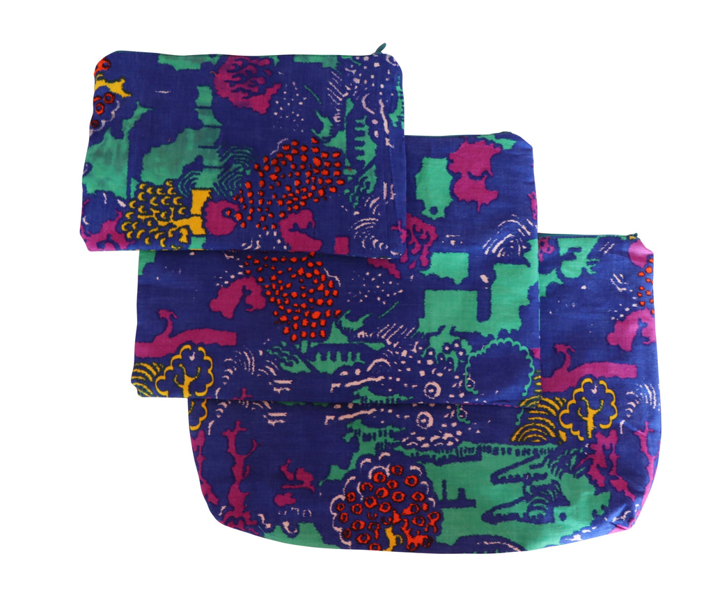 Jungle Set of Three Cosmetic Pouches Small