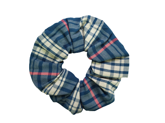 Secret Scrunchie Large-Pink & Blue Picnic