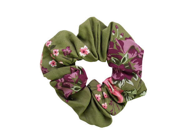 Secret Scrunchie Large-Forest Green Flower