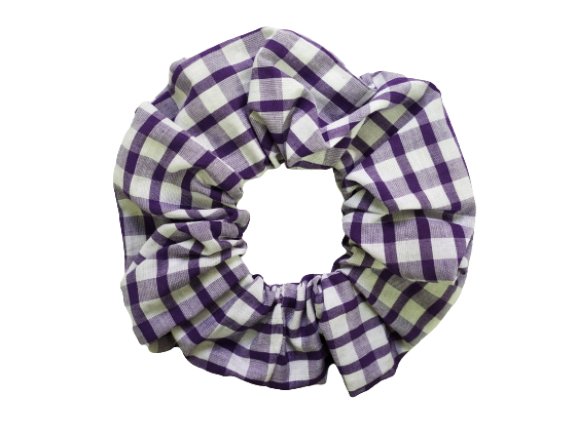 Secret Scrunchie Large-Purple Gingham