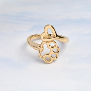 My Heart and Paw Adjustable Ring - Our Pet Card