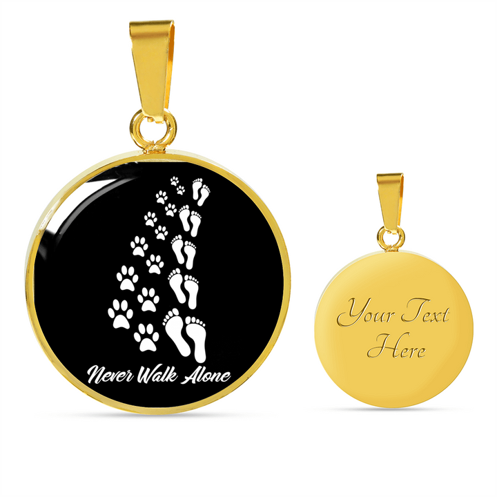 Never Walk Alone 18K Gold Pendant Necklace - Our Pet Card